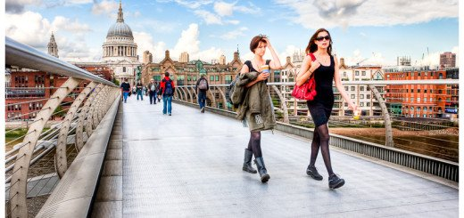 Street Photography - picture of people on London's Millennium Bridge