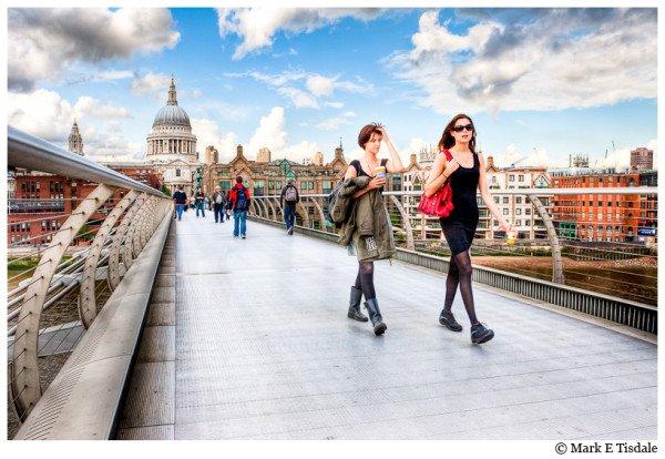 Street Photography - picture of people on London's Millennium Bridge