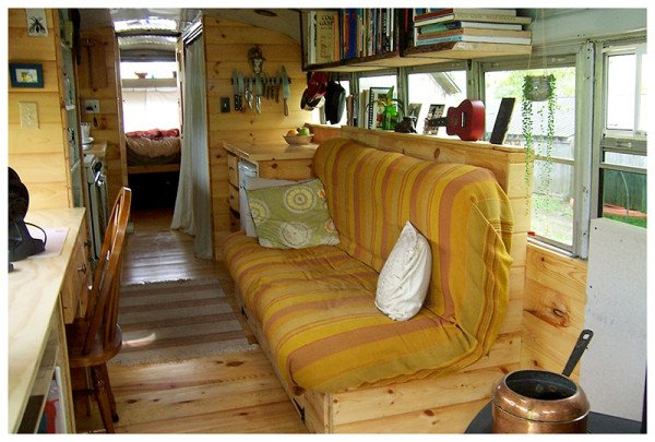 Interior of the Farm Bus that Phil and Chaldea Converted
