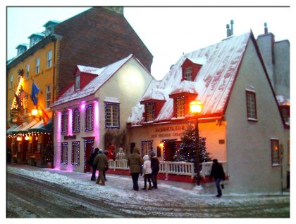 Cheery Street Scene in Quebec