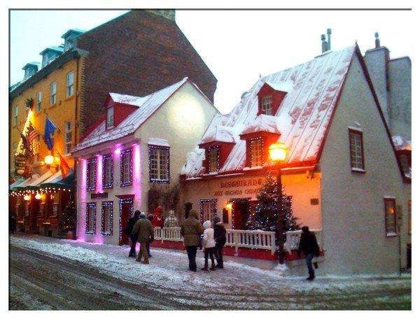 Cheery Street Scene in Quebec
