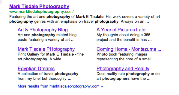 Mark Tisdale Photography - Screenshot of Google Results