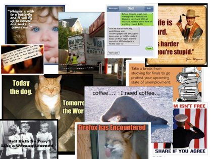Content is King on Facebook - collage of the flotsam and jetsam on Facebook