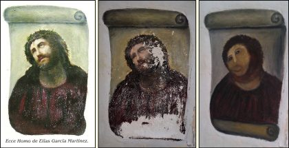 Botched Restoration of a Frescoe in a church in Borja, Spain