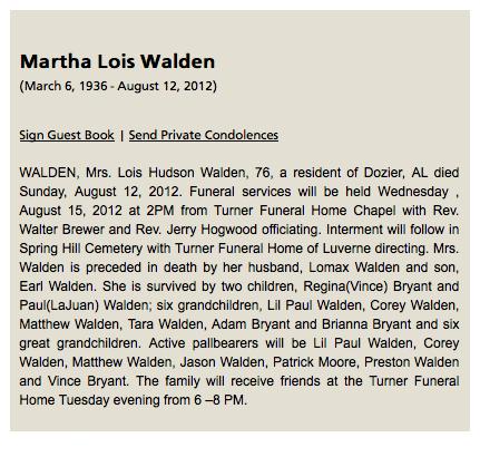 Lois Hudson Walden Obituary