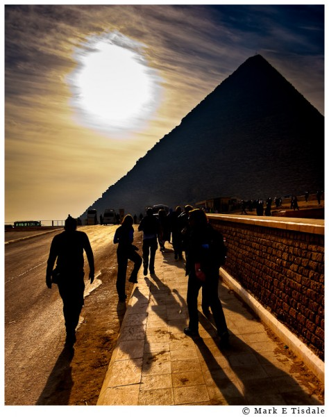 Photo of fellow travelers approaching the famous pyramid for the first time